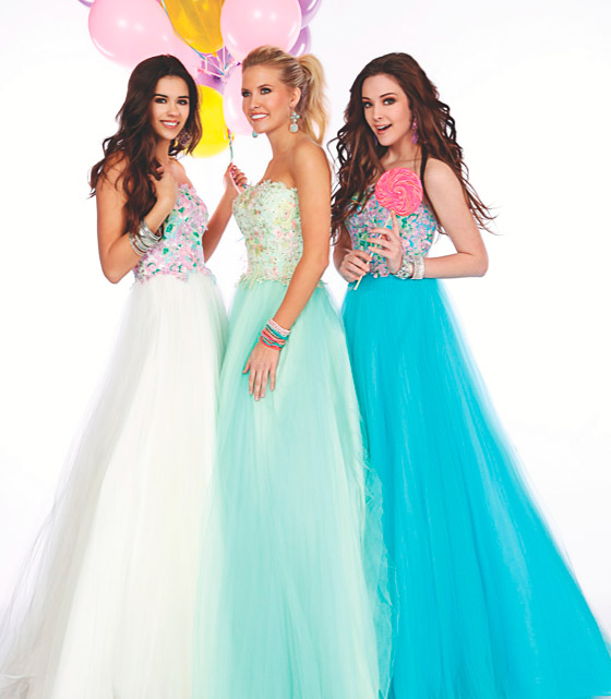 Young women in prom dresses.