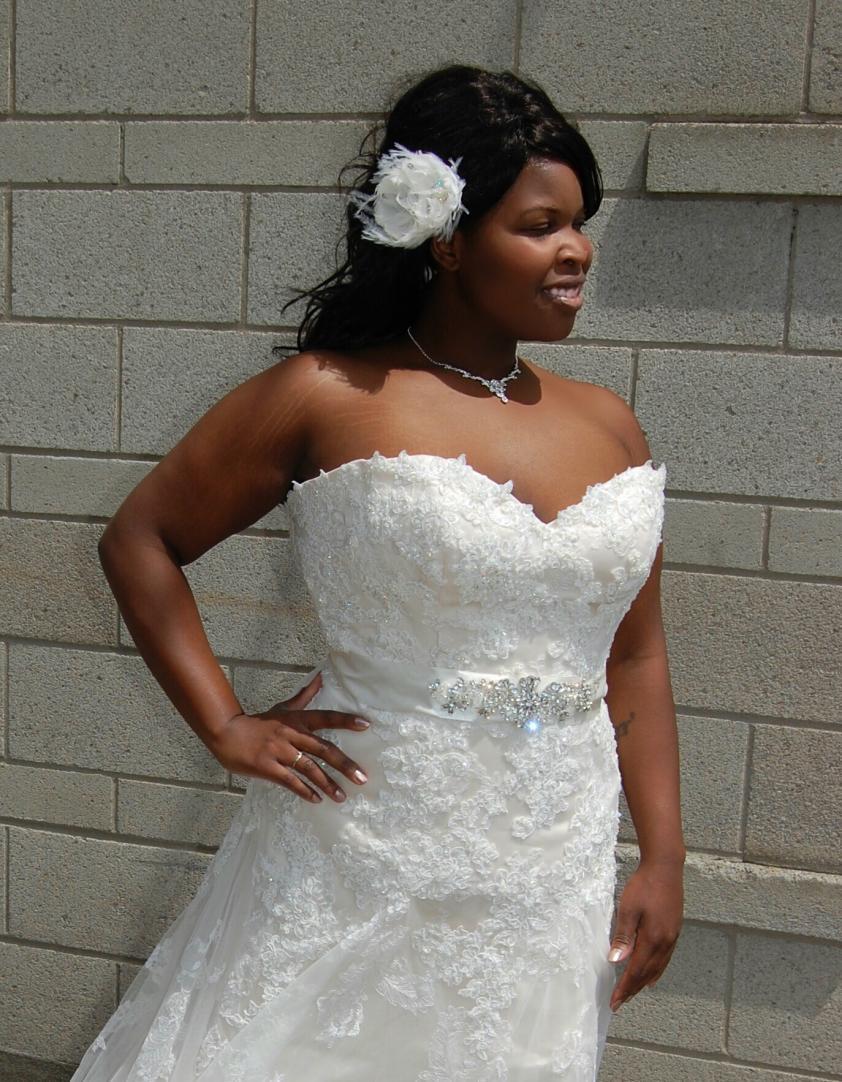 Bridal Classics Bridal flower clip, belt and necklace - Dominique Levesque Bridal